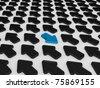 Different blue arrow - stock photo