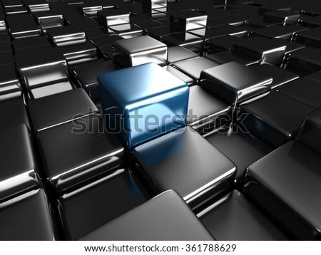 Different blue cube on dark metallic background. 3d render illustration - stock photo