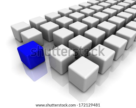 Different blue cube on white background