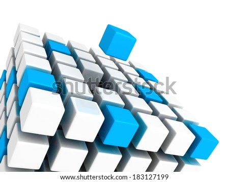 Different blue cube standing out from white cubes build structure. Individual leadership concept 3d render illustration - stock photo