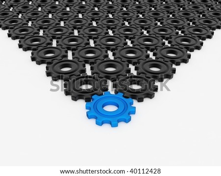 Different blue gear - stock photo