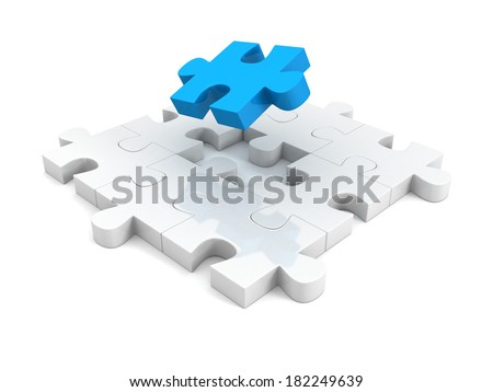 different blue piece of jigsaw puzzle structure. individual teamwork leadership concept 3d illustration - stock photo