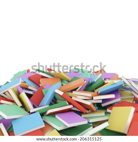 Different Books Laying On The Floor, Isolated On White