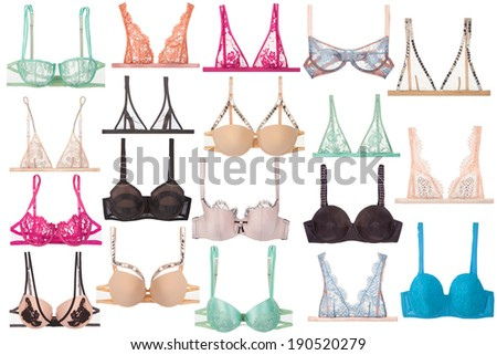 different bras shapes isolated on white background - stock photo