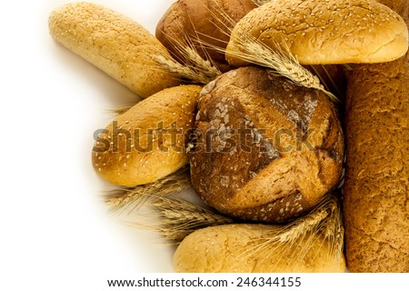 Different bread and bread slices. Food background - stock photo