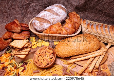 Different bread arranged on table