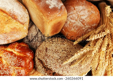 Different bread with ears close up - stock photo
