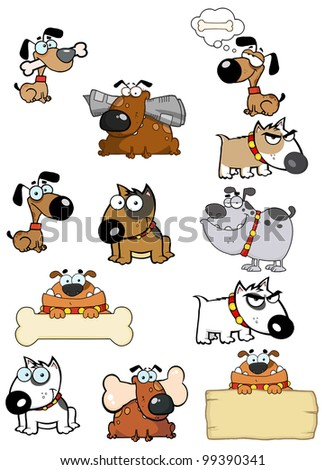 Different Breeds Of Dog. Raster Illustration.Vector version also available in portfolio. - stock photo