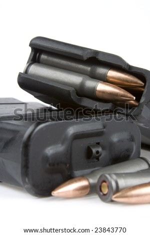 Different bullets end ammunition on a white background