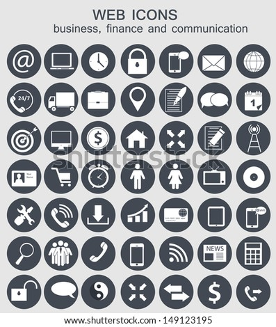 Different business, finance and communication icons  illustration - stock photo