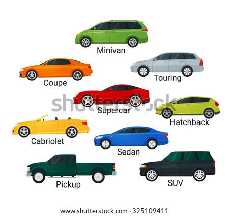 Different car types icons flat style. Sedan and minivan, hatchback and coupe. Car sale concept. Rasterized version. - stock photo