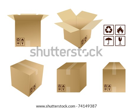 different Cardboard boxes with icons isolated over a white background - stock photo