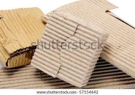 different cardboard packagings on a white background - stock photo