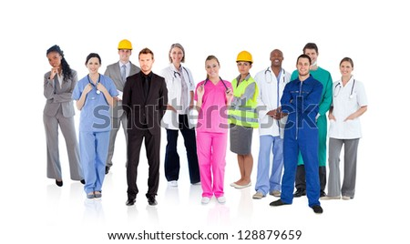 Different careers on white background - stock photo