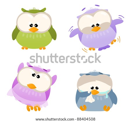 Different cartoon owls being silly - stock photo