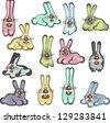different cartoon rabbits on the white background. Raster version, vector file available in portfolio. - stock photo