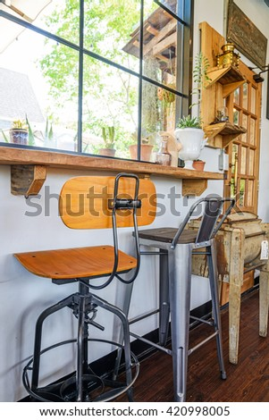 Different chairs in the cafe, Interior decoration of a coffee shop - stock photo