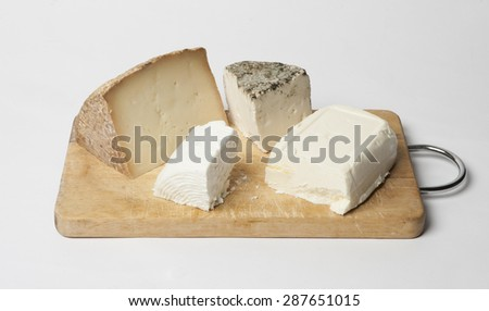 different cheeses isolated - stock photo