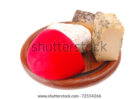 different cheeses on wood over white background