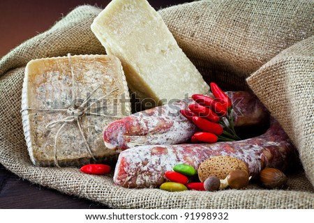 Different cheeses, salami and dried fruit - stock photo