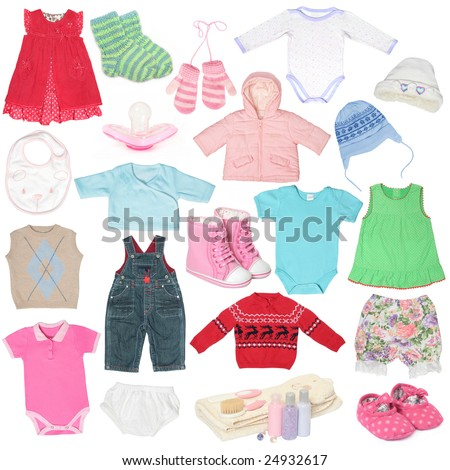 Different child`s clothes, shoes and accessories. - stock photo