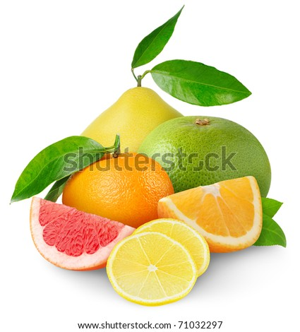 Different citrus fruits over white background