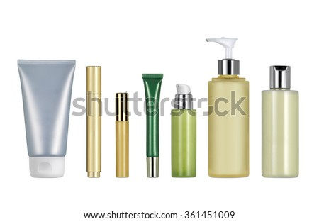 Different classic cosmetics and creams containers against white background. Clipping path - stock photo