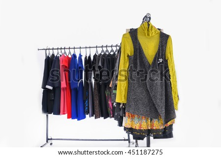 different clothes for females rack display - stock photo
