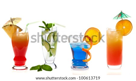 Different cocktails on white background - stock photo