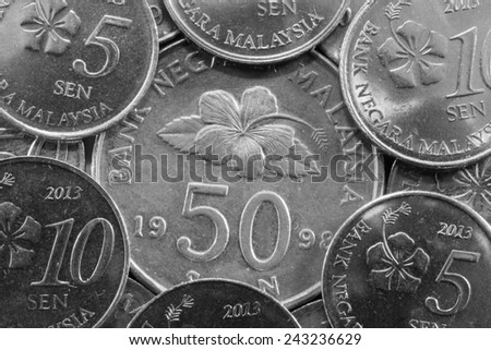 Different coins from Malaysia in Asia - stock photo