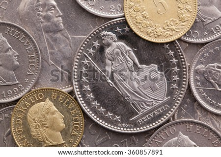 Different coins of Swiss Franc - stock photo