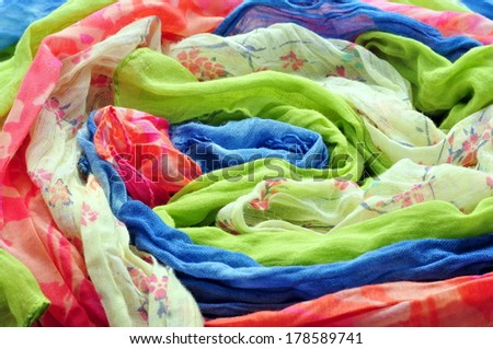 Different color and texture fabrics closeup  - stock photo