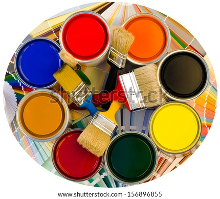 Different color cans of paint and brushes on swatches background. Top view on a circle of paint cans. Round photo. - stock photo
