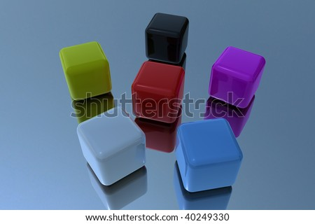 Different color cubes in 3D - stock photo