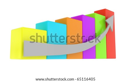different color graph with arrow on white background