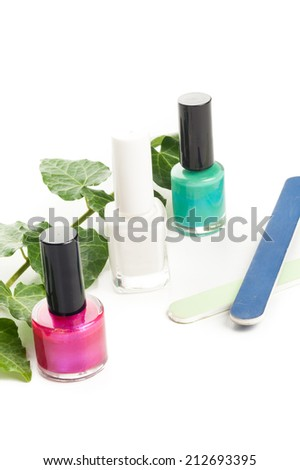 different color nail polish, fashion glamour manicure set