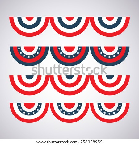 different color options flag bunting to decorate for Independence Day - stock photo