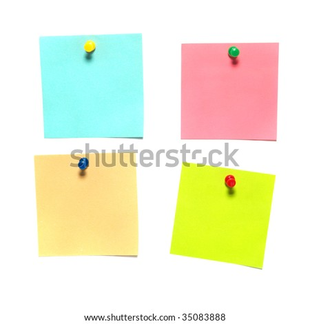 Different color stickers isolated on white background