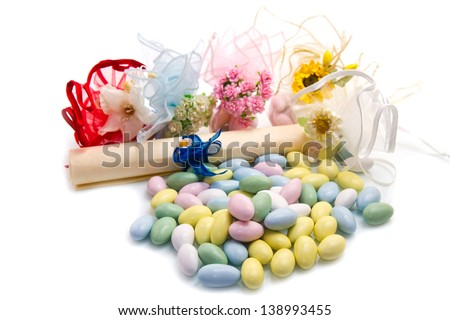 different colored candy favor on white background  - stock photo