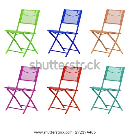 different colored chairs - stock photo