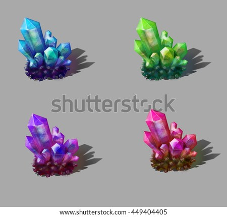 different colored crystals realistic - stock photo