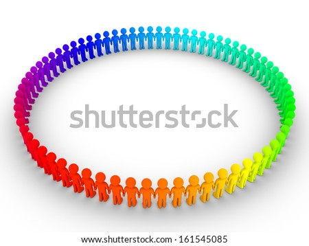 Different colored 3d people standing next to each other to form a big circle