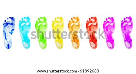 different colored foot prints in a row