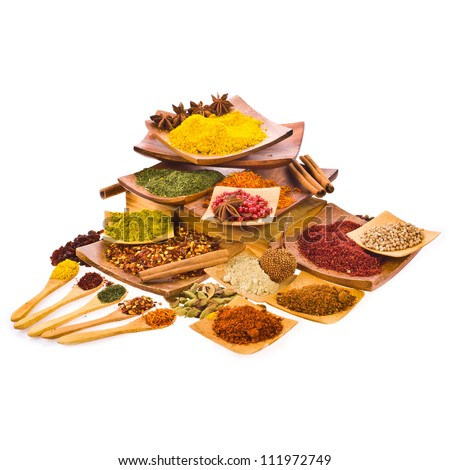 Different colored ground spices powders and solid with wooden spoons in a wooden coasters isolated on white background - stock photo