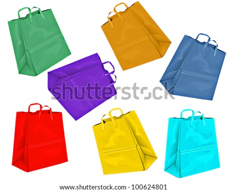 different colored paper bags on white background