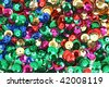 Different colored sequins for craft use - stock photo