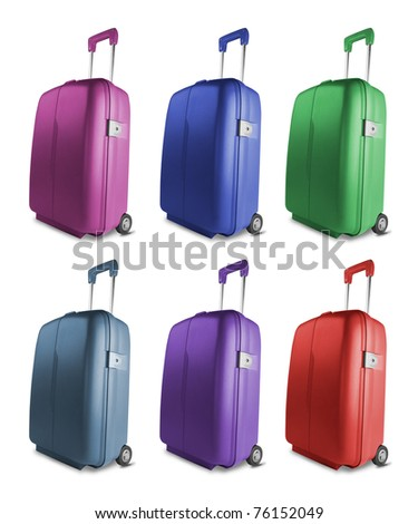 Different colored suitcases isolated on white background - stock photo