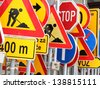 Different colored traffic signs - stock photo