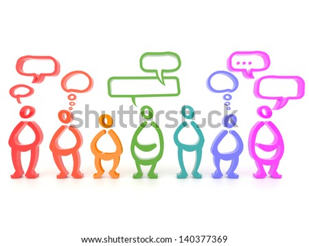 Different colorful people design with blank speech bubble, sharing different thoughts in 3D social media network symbol. - stock photo