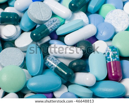 different colorful pills - stock photo